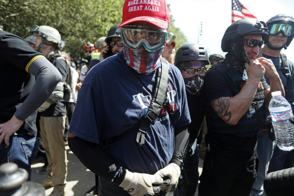 Right-wing supporters of the Patriot Prayer group gather during a rally in Portland